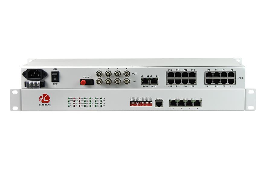 飞畅科技-1-16路电话+4E1+4FE+4RS232光端机(19英寸1U)