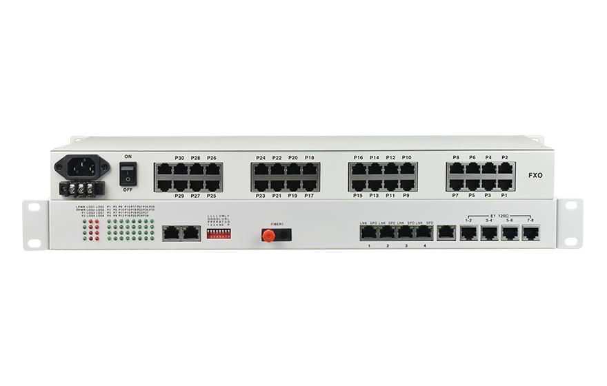 飞畅科技-32路电话+8E1+4路物理隔离百兆网络+4路串口光端机