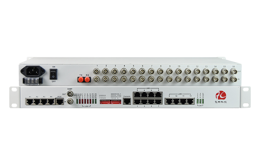 飞畅科技-16E1+12FE+8路电话(19英寸)PDH光端机