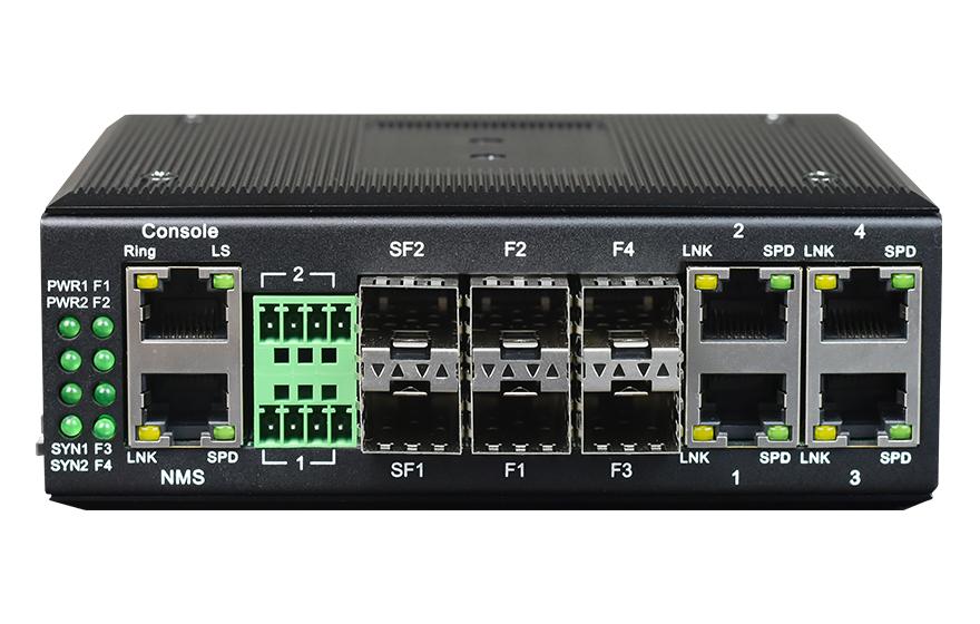 飞畅科技-网管型 工业级4路百兆电+4路百兆光+1路千兆光 交换机