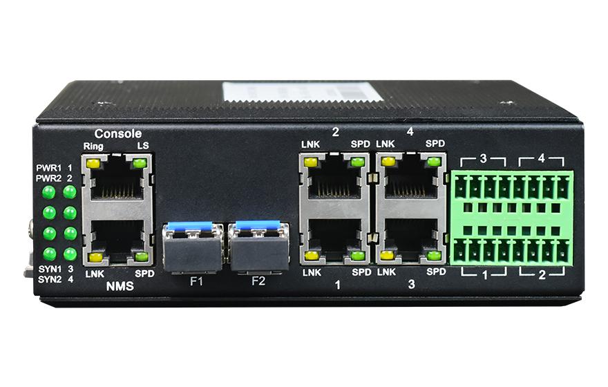 飞畅科技-环网型 4千兆电+4路串口 2千兆光 交换机