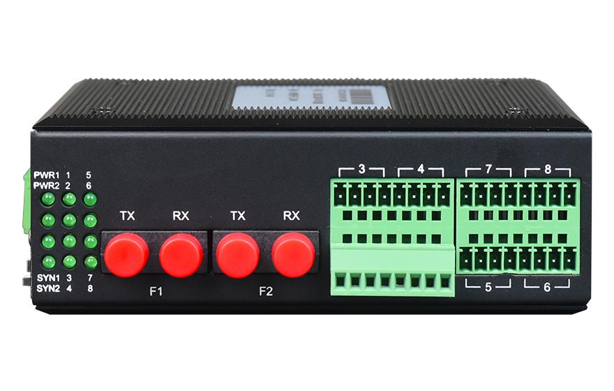 飞畅科技-工业轨式1-16路开关量光端机 1+1光备份