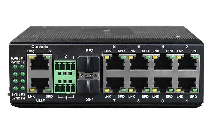 飞畅科技-网管型 工业级8路千兆电 物理隔离 转2路10G光 交换机